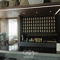 20평대 카페인테리어: 1988에피파니의  빌트인 주방,미니멀 우드 우드 그레인