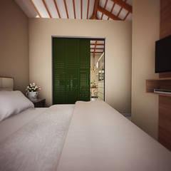 SUÍTE CASAL: Quartos  por THACO. Arquitetura e Ambientes