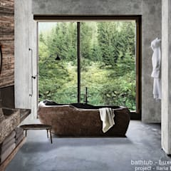 River stone bathtub for sale - freestanding stone bathtubs:  Bathroom by Lux4home™ Indonesia