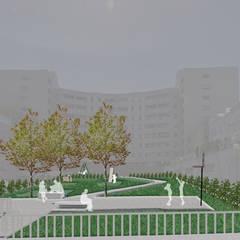 Parque Infantil: Jardins de fachada  por Claudia Gomes