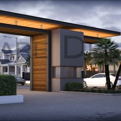 colony front gate design .(3d view):  Office buildings by Square Designs