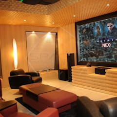 yes to the river: modern Media room by SPACCE INTERIORS
