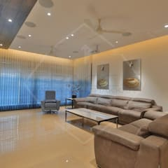 'out of the 'blue' '...an expression in modern interiors:  Living room by SPACCE INTERIORS,Modern