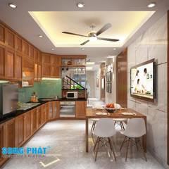 Mấu thiết kế bếp chữ L đẹp phù hợp với không gian sống hiện đại:  Phòng ăn by Công ty TNHH TK XD Song Phát