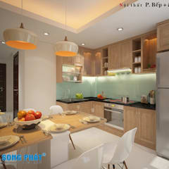 Mấu thiết kế bếp chữ L đẹp phù hợp với không gian sống hiện đại:  Bếp xây sẵn by Công ty TNHH TK XD Song Phát
