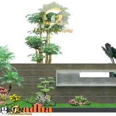 Desain Taman Untuk Halaman Luar Pagar: Halaman depan oleh Tukang Taman Surabaya - Tianggadha-art, Modern Batu