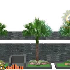 Perpaduan Batu Alam Pagar Depan dan Taman :  Halaman depan by Tukang Taman Surabaya - Tianggadha-art