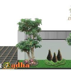 Jardines en la fachada de estilo  por Tukang Taman Surabaya - Tianggadha-art , Moderno Piedra