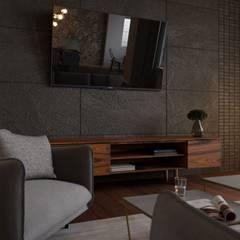 metamorfoza przestrzeni dziennej-mieszkanie: styl , w kategorii Pokój multimedialny zaprojektowany przez Agata Pozowska, architektura wnętrz
