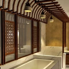 Duplex, Vasant Vihar:  Bathroom by Chaukor Studio