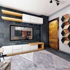 Apartment Interior in East Town Sodic:  غرفة المعيشة تنفيذ Zoning Architects