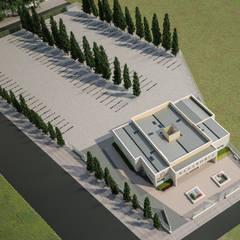 Vista aérea del complejo: Casas multifamiliares de estilo  de A3D INFOGRAFIA