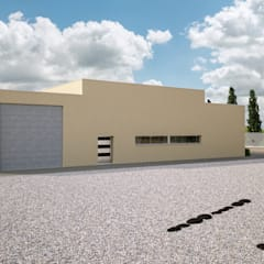Fachada trasera _ vista 2: Casas multifamiliares de estilo  de A3D INFOGRAFIA