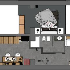 planimetria parte rialzata e sottostante: Pavimento in stile  di Lambda Design