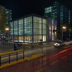 Render Edificio - Exterior: Estancias de estilo  por Arqed