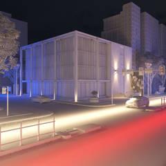 Render Edificio - Exterior: Estancias de estilo  por Arqed,Moderno Tableros de virutas orientadas