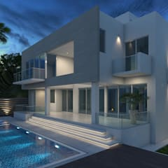 Fachada Posterior 1 - Pileta: Casas unifamiliares de estilo  por Arqed