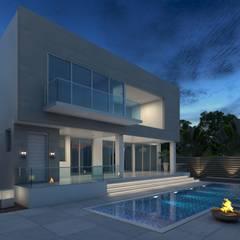Fachada Posterior 2 - Pileta: Casas unifamiliares de estilo  por Arqed