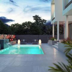 Pileta: Casas unifamiliares de estilo  por Arqed