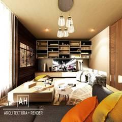 SALA DE TV: Salas multimedia de estilo moderno por ah arquitectura + render