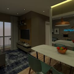Apartamento Jacarepguá: Salas de jantar industriais por Studio BRTA