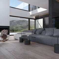 Projekt nowoczesnego wnętrza domu w Górkach: styl , w kategorii Salon zaprojektowany przez Mono architektura wnętrz Katowice
