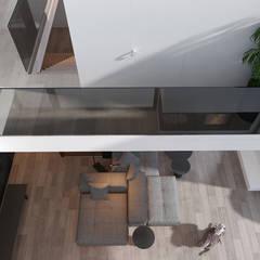 Projekt nowoczesnego wnętrza domu w Górkach: styl , w kategorii Korytarz, przedpokój zaprojektowany przez Mono architektura wnętrz Katowice