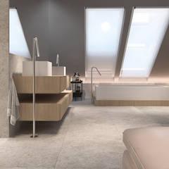Projekt nowoczesnego wnętrza domu w Górkach: styl , w kategorii Łazienka zaprojektowany przez Mono architektura wnętrz Katowice