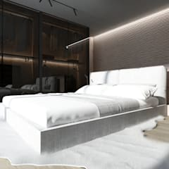 Projekt nowoczesnego wnętrza domu w Górkach: styl , w kategorii Sypialnia zaprojektowany przez Mono architektura wnętrz Katowice
