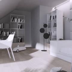 Projekt nowoczesnego wnętrza domu w Górkach: styl , w kategorii Pokój młodzieżowy zaprojektowany przez Mono architektura wnętrz Katowice
