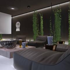 Projekt nowoczesnego wnętrza domu w Górkach: styl , w kategorii Pokój multimedialny zaprojektowany przez Mono architektura wnętrz Katowice