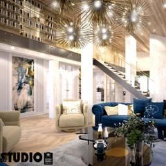 salon z antresolą: styl , w kategorii Salon zaprojektowany przez MIKOŁAJSKAstudio