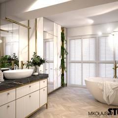 ogromna łazienka: styl , w kategorii Łazienka zaprojektowany przez MIKOŁAJSKAstudio
