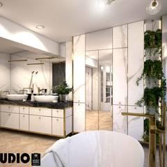 łazienka z kwiatami: styl , w kategorii Łazienka zaprojektowany przez MIKOŁAJSKAstudio