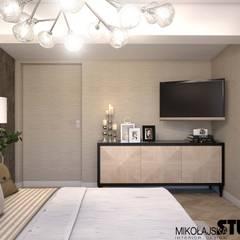 beżowa sypialnia: styl , w kategorii Sypialnia zaprojektowany przez MIKOŁAJSKAstudio