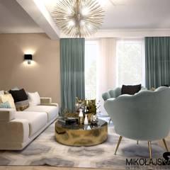 gabinet ze złotem: styl , w kategorii Domowe biuro i gabinet zaprojektowany przez MIKOŁAJSKAstudio