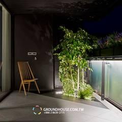 區分休閒與賞景的兩種陽台:  露臺 by 大地工房景觀公司