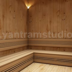 Man Female Steam Room In House Design Ideas:  Sauna by Yantram Architectural Design Studio