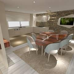 Projeto de Moradia de Luxo em Fão: Salas de jantar  por Atelier Kátia Koelho,Moderno