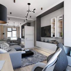 Projekt mieszkania dla młodego mężczyzny: styl , w kategorii Pokój multimedialny zaprojektowany przez Design studio TZinterior group