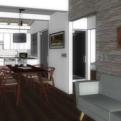 SALA-COMEDOR-COCINA: Salas de estilo  por WIGO SC