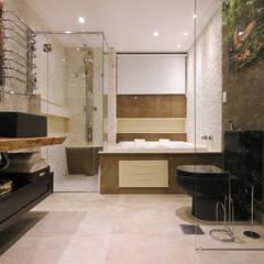 """Apartamento - """"CHOQUE DE PERSONALIDADE"""": Banheiros  por INSIDE ARQUITETURA E DESIGN"""
