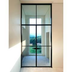 단독주택 3.6m 양개스윙도어, ALU-SW: WITHJIS(위드지스)의  유리 문