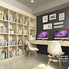 Escritórios e Espaços de trabalho  por 木博士團隊/動念室內設計制作, Industrial Madeira Acabamento em madeira