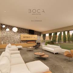 Villa Mendoza: Salas de estilo rústico por BOCA ARQUITECTOS