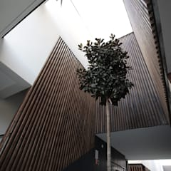 Textura de madeira num edifício de habitação colectiva: Habitações multifamiliares  por OGGOstudioarchitects, unipessoal lda