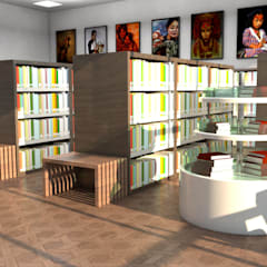 LIBRARY INTERIOR DESIGN :  Offices & stores by DESIGN SOLACE