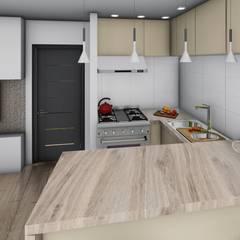 Monoambiente - diseño interior: Cocinas de estilo  por Triad Group