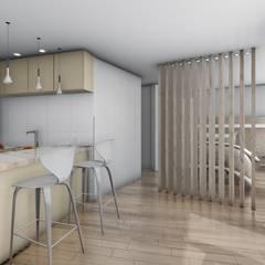 Monoambiente - diseño interior: Comedores de estilo  por Triad Group