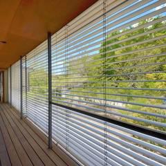 外廊下のある家: 岩田建築アトリエが手掛けた廊下 & 玄関です。